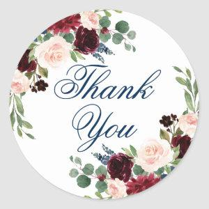 Rustic Floral | Navy Burgundy Garland Thank You Classic Round Sticker