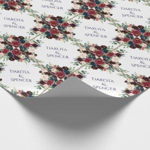 Rustic Floral | Navy Burgundy Wreath Monogram Wrapping Paper