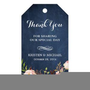 Rustic Flowers Blue Chalkboard Wedding Thank You Gift Tags