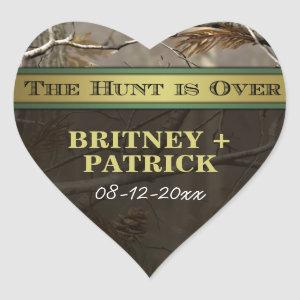 Rustic Forest The Hunt is Over Camo Wedding Favors Heart Sticker