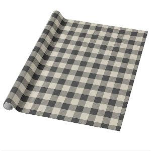 Rustic Gray and Beige Buffalo Check Wrapping Paper