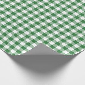 Rustic Green and White Gingham Pattern Wrapping Paper
