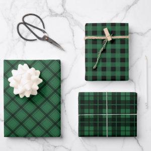 Rustic Green Plaid Buffalo Check Mixed Pattern Wrapping Paper Sheets