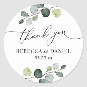 Rustic Greenery Eucalyptus Personalized Thank You Classic Round Sticker