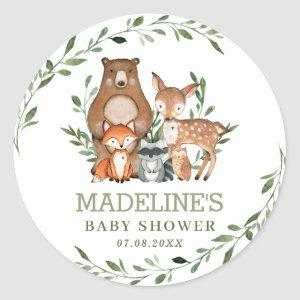 Rustic Greenery Woodland Animals Baby Shower Favor Classic Round Sticker