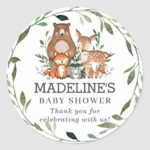 Rustic Greenery Woodland Animals Thank You Favor Classic Round Sticker