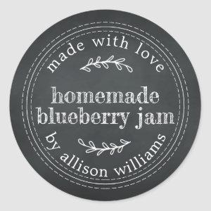 Rustic Homemade Blueberry Jam Canning Chalkboard Classic Round Sticker