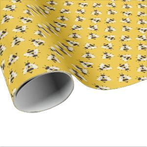 Rustic Illustrated Bumble Bee Wrapping Paper