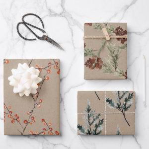 Rustic Kraft Color Winter Spruce Cones & Berries Wrapping Paper Sheets