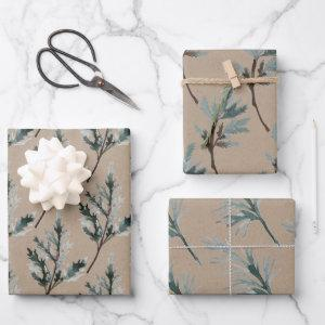 Rustic Kraft Paper Silvery Blue Spruce Branches