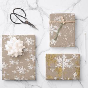 Rustic Kraft Paper Winter White & Gold Snowflake