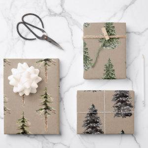 Rustic Kraft Paper Winter Woodland SpruceTrees