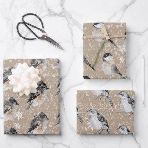 Rustic Kraft Winter Birds Sparrows Chickadees Wrapping Paper Sheets