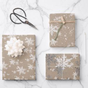 Rustic Kraft Winter White & Silver Snowflakes Wrapping Paper Sheets