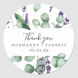 Rustic Lavender Thank You Favor Sticker