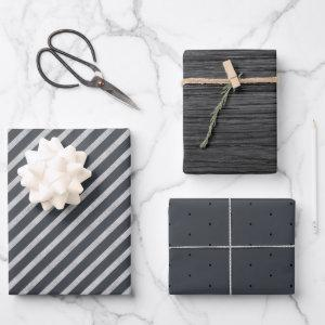 Rustic Modern Slate Gray Charcoal Wrapping Paper Sheets