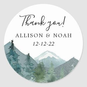 Rustic mountains outdoor theme forest woods favor classic round sticker