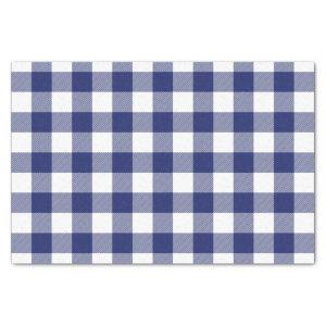 Rustic Navy Blue Buffalo Check Pattern Tissue Paper