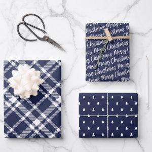 Rustic Navy Plaid Pine Tree Merry Christmas Wrapping Paper Sheets