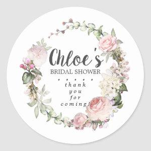 Rustic Pink Floral Bridal Shower Thank You Classic Round Sticker