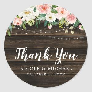 Rustic Pink Floral String Lights Wedding Thank You Classic Round Sticker