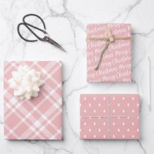 Rustic Pink Plaid Pine Tree Merry Christmas Wrapping Paper Sheets