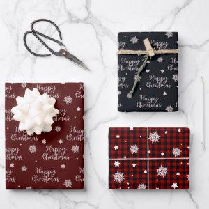 Rustic Red Black Happy Christmas Snowflakes Plaid Wrapping Paper Sheets