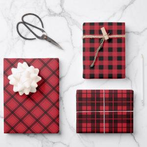 Rustic Red Black Plaid Buffalo Check Mixed Pattern Wrapping Paper Sheets