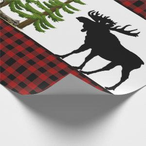 Rustic Red Buffalo Plaid with Moose Silhouette Wrapping Paper