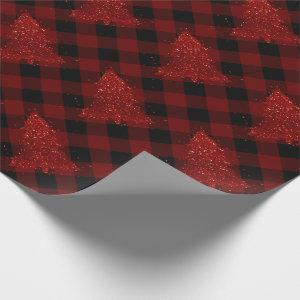 Rustic Red Christmas Tree Modern Buffalo Plaid Wrapping Paper