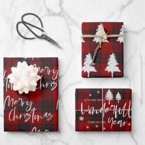 Rustic Red Plaid Merry Christmas Quote Gift Wrapping Paper Sheets