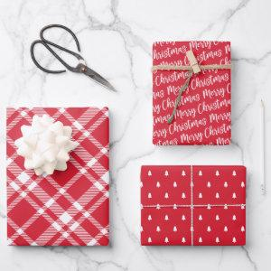 Rustic Red Plaid Pine Tree Merry Christmas Wrapping Paper Sheets