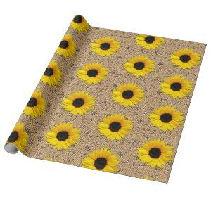 Rustic Simulated Burlap Lace Sunflower Wrapping Paper