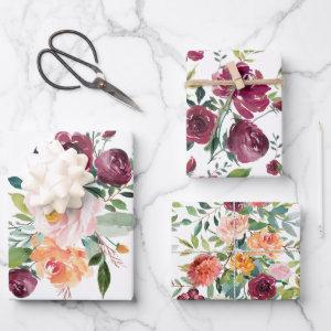 Rustic Stylish Floral Bouquets Wrapping Paper Sheets