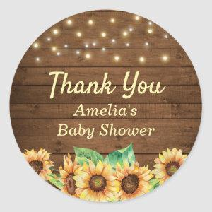 Rustic Sunflower Baby Shower Sprinkle Thank You Classic Round Sticker