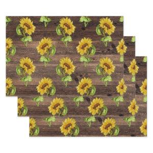 Rustic Sunflower on Wood Wrapping Paper Sheets