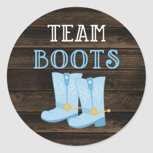 Rustic Team Boots Boy Gender Reveal Classic Round Sticker