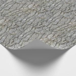 Rustic Tree Bark Gray Wrapping Paper