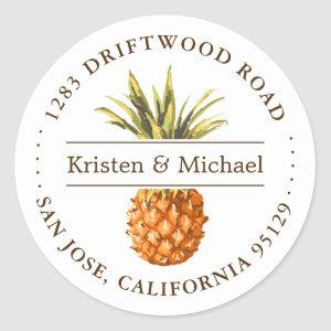 Rustic Tropical Pineapple Luau Return Address Classic Round Sticker