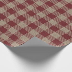 Rustic Vintage Red Buffalo Check Gift Wrapping Paper