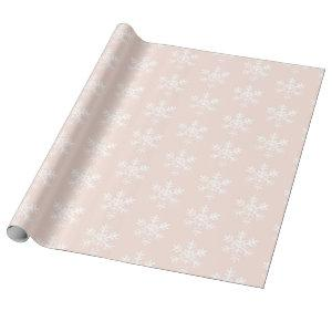 Rustic White Snowflakes Blush Pink Wrapping Paper