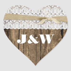 Rustic Wood and Lace Wedding Envelope Seal