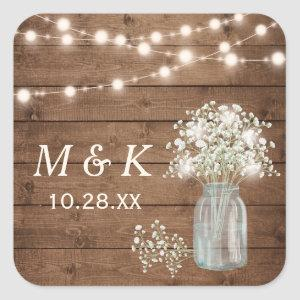 Rustic Wood Baby's Breath Floral Wedding Monogram Square Sticker