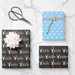 Rustic Wood Blue Deer Boy Baby Shower Wrapping Paper Sheets