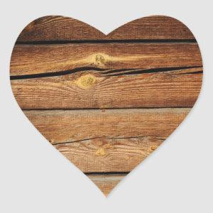 Rustic Wood Grain Boards Design Country Gifts Heart Sticker
