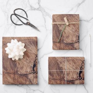 Rustic Wood Grain Texture Design Wrapping Paper Sheets