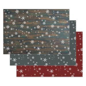 Rustic Wood Grey Red Snowflakes Christmas Holidays Wrapping Paper Sheets
