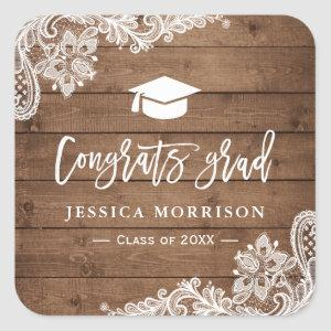 Rustic Wood Lace Congrats Grad Graduation Favor Square Sticker