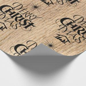 Rustic Wood Merry Christmas Woodland Religious Wrapping Paper