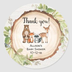 Rustic woodland animals baby shower classic round sticker